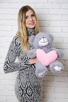 Плюшевий Ведмедик Тіні з серцем 50 см Темно сірий