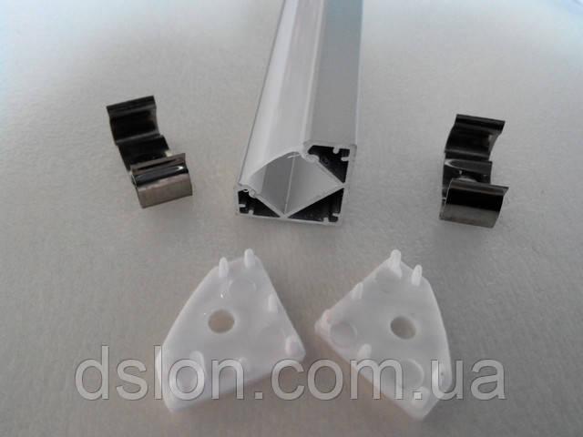 Угловой алюминиевый LED профиль с комплектующими - 64 грн./м.п.!!!