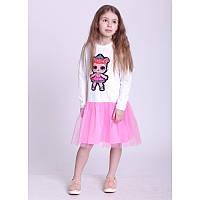"""Платье для девочек. Размер: 128. молочный,розовый. TM """"VIDOLI"""" G-19817W-2. Украина."""