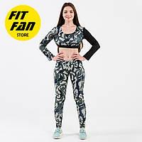 Женский спортивній костюм для фитнеса бега йоги Fit Fan Military