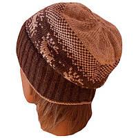 """Вязаная зимняя шапка-носок(утепленный вариант) с норвежскими орнаментами """"олени"""""""