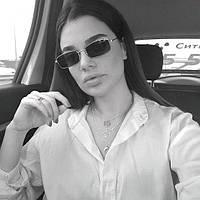Прямоугольные квадратные солнцезащитные очки черные с серебряной оправой маленькие узкие женские мужские