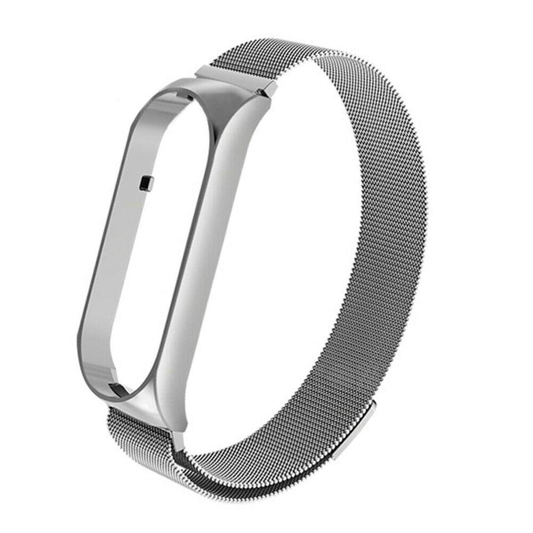 Магнитный ремешок для Xiaomi Mi Smart Band 5, Milanese Loop, серебристый