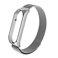 Магнитный ремешок для Xiaomi Mi Smart Band 5, Milanese Loop, серебристый, фото 1