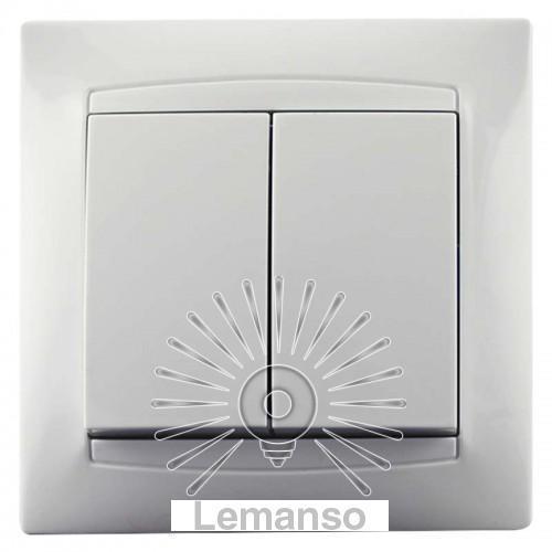 Выключатель 2-й LEMANSO Сакура белый LMR1005