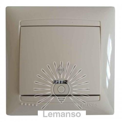 Выключатель 1-й проходной + LED подсветка LEMANSO Сакура крем LMR1103
