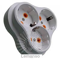 Тройник Lemanso с заземлением ромашка + ступенька белый LMA026