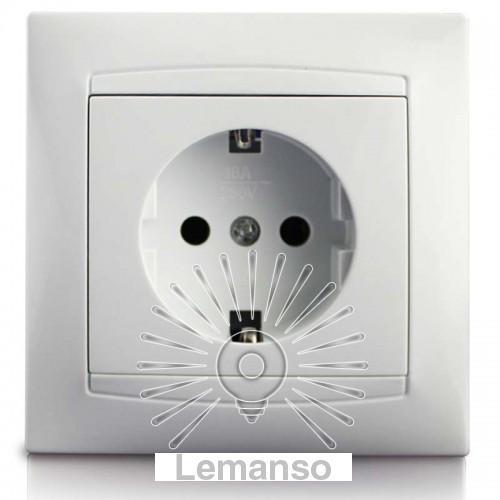 Розетка 1-я с заземлением LEMANSO Сакура белая LMR1021