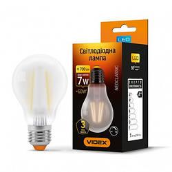 LED лампа VIDEX Filament A60FMD 7W E27 4100K 220V диммерная (VL-A60FMD-07274)