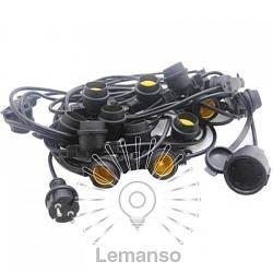 Гирлянда IP65 Lemanso 15 x E27 + кабель 10м + вилка (IP44) / LMA502 (только LED)
