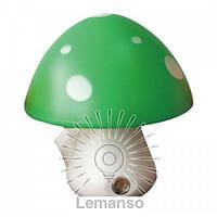 Ночник Lemanso Гриб 3 LED 6500K с сенсором зелёный / NL16