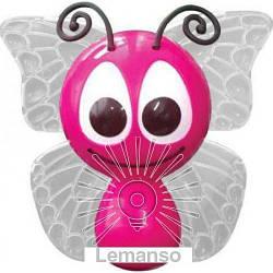 Ночник Lemanso Бабочка 4 LED*RGB с сенсором розовая / NL14