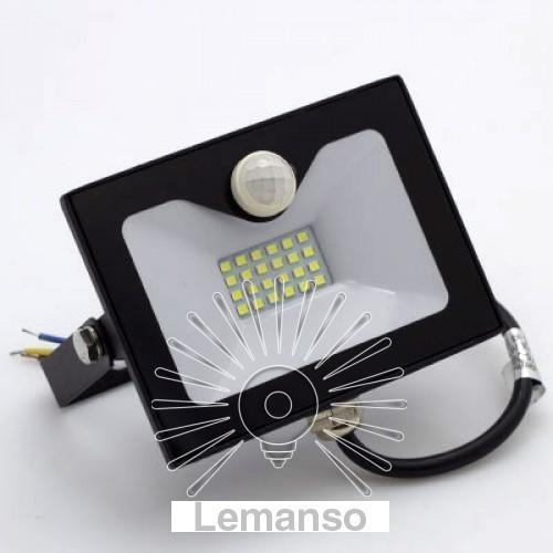 Прожектор LED 20w 6500K IP65 1600LM LEMANSO со встроенным датчиком чёрный/ LMPS25