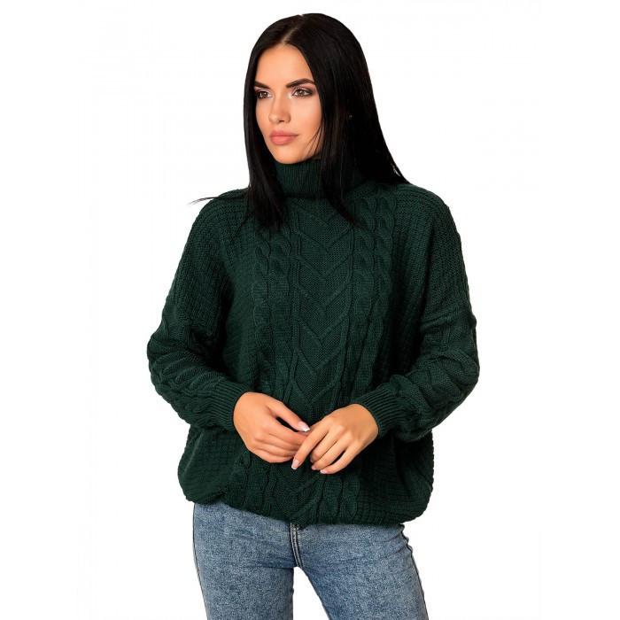 Теплий жіночий вовняний светр з горлом зелений 44-48 розміри