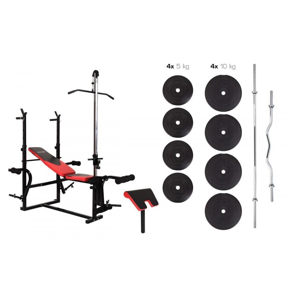 Штанга 77 кг и скамья HS-1070 с партой и тягой