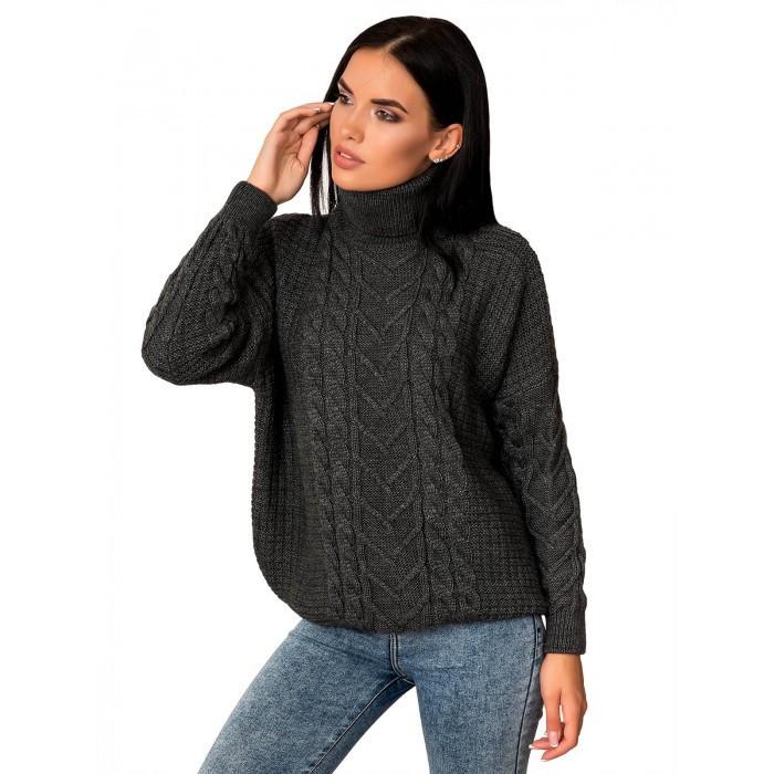 Теплий жіночий вовняний светр з горлом сірий 44-48 розміри