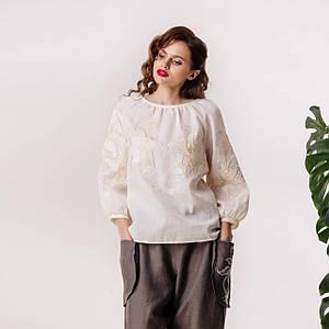 Женская льняная блуза с вышивкой Шарм
