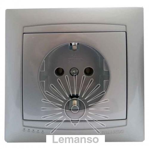 Розетка керамика 1-я с заземлением LEMANSO Сакура серебро LMR1316