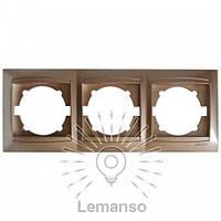 Рамка 3-я LEMANSO Сакура золото горизонтальная LMR1212