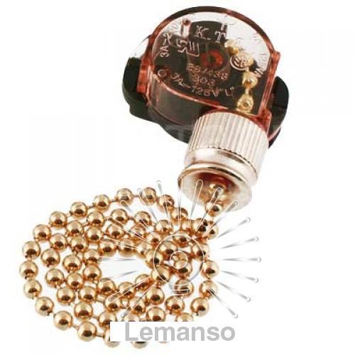 Выключатель Lemanso с цепочкой античное золото + 10см провод LMA033