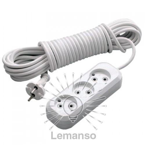Удлинитель 3 гнезда 5м без заземл. Lemanso / LMK041