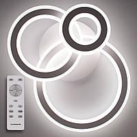 Потолочный светодиодный светильник с пультом ДУ LUMINARIA TRIPLEX ROUND 108W R700/600 WHITE/WHITE 220V IP44, фото 1