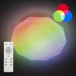 Потолочный светодиодный светильник с пультом LUMINARIA ALMAZ 25W RGB R330 SHINY IP44 + Видео обзор