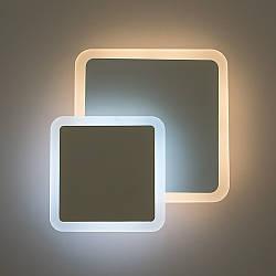 Настенный светодиодный светильник, бра LUMINARIA GEOMETRIA SQUARE 12W S185 WHITE 220V IP44