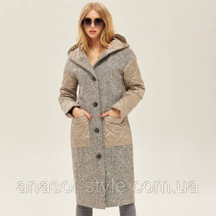 Женское демисезонное пальто комбинированное стеганое бежевое