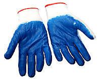 Перчатки рабочие стрейчевые с синим латексным покрытием, Китай (упаковка 12 пар)