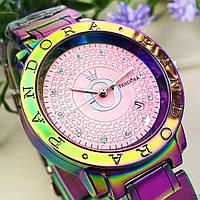 Годинники наручні жіночі кварцові райдужні рожеві Pandora 6301 Creative Pink Date 1036-0357