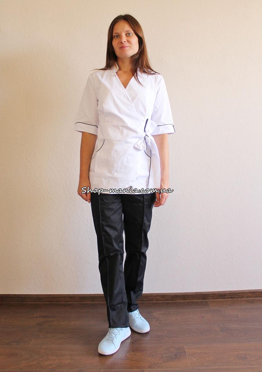 Медицинский женский костюм SM 1401 коттон Rubina 42-56 р (белый-черный)