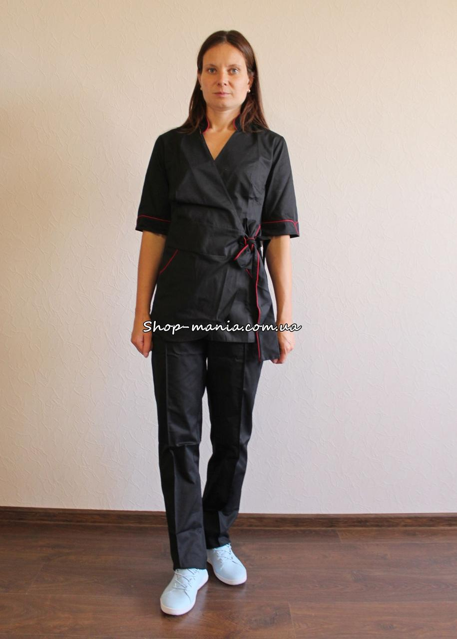 Медицинский женский костюм воротник стойка SM 1401-1 коттон Rubina 42-56 р (черный)
