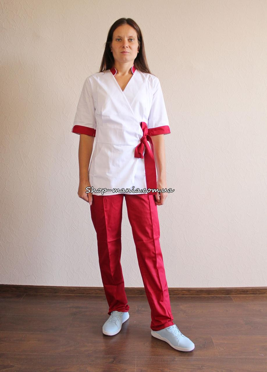 Медицинский женский костюм на завязке воротник стойка SM 1401-4 коттон Rubina 42-56 р (белый-красный)