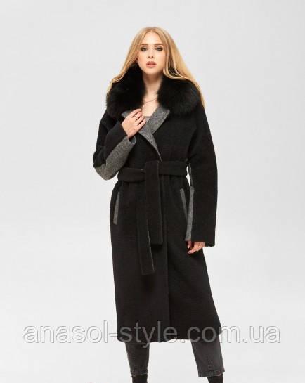 Тепле пальто демисезон Жанетт з хутряним коміром комбіноване на поясі чорне