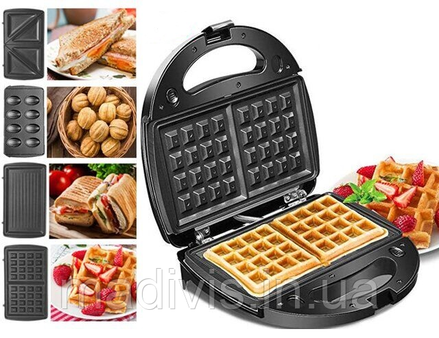 Мультигриль, бутербродница, сендвичница, вафельница, орешница  Crownberg CB-1074 со съемными формами