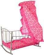 Кроватка для кукол Melogo (9349) - игровая кукольная кроватка - матрас, подушка, балдахин