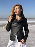 Черная косуха-пиджак из натуральной кожи, фото 2