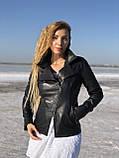 Черная косуха-пиджак из натуральной кожи, фото 3