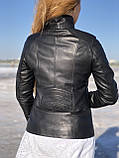 Черная косуха-пиджак из натуральной кожи, фото 4