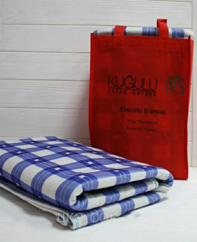 Электропростынь односпальная байковая, электроодеяло, электрогрелка,145*75, Турция