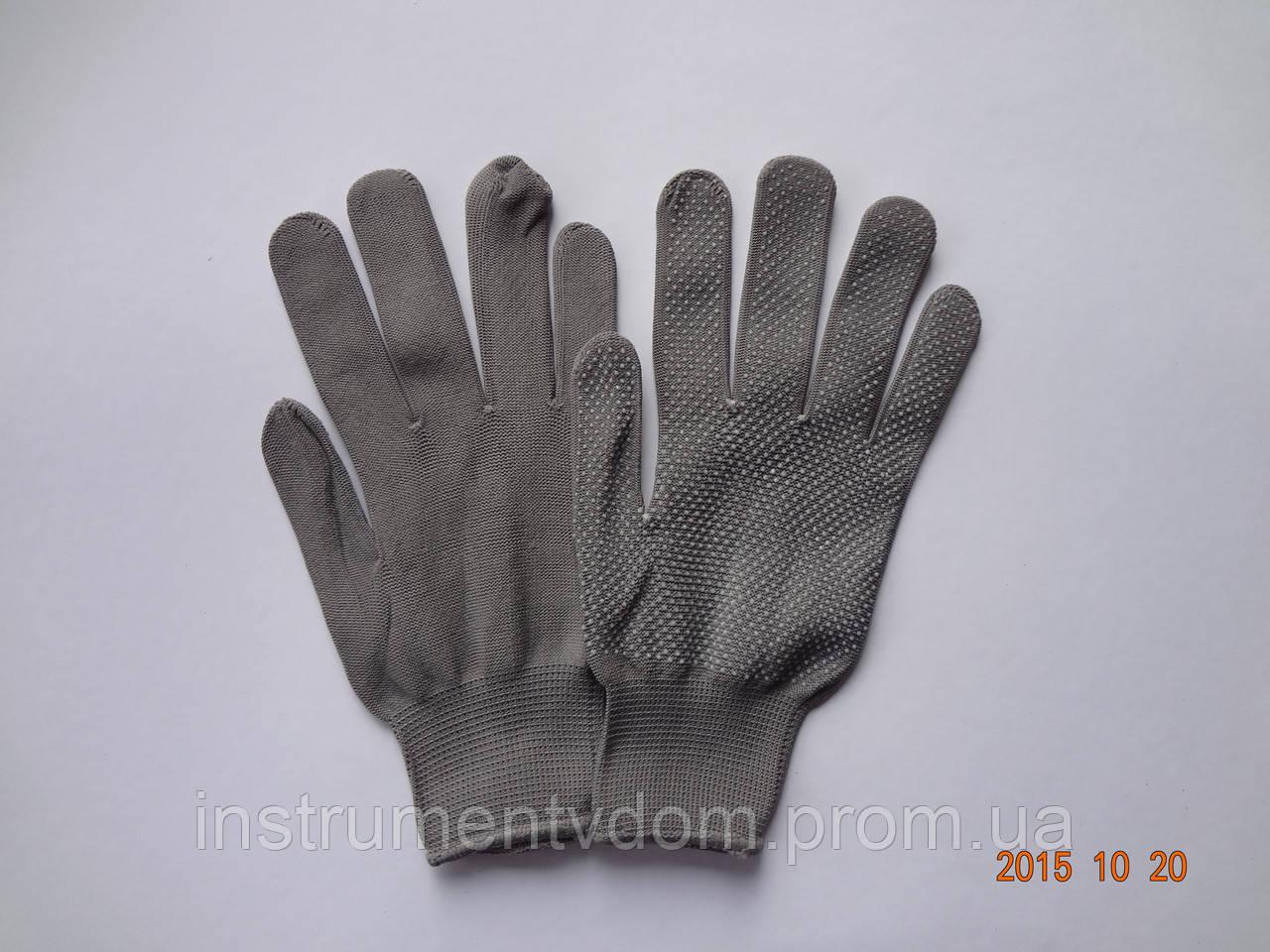 Перчатки серые нейлоновые с ПВХ точкой (упаковка 12 пар)