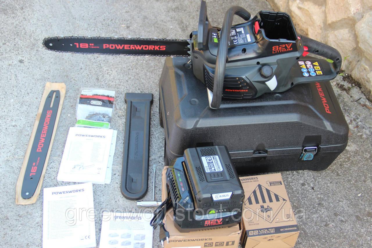 Аккумуляторная цепная пила Powerworks 82V 2000313 / Greenworks 82V GD82CS50 с АКБ 2,5 Ач и ЗУ
