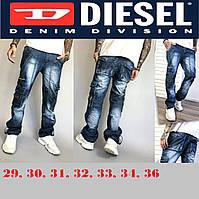 Мужские синие джинсы джоггеры, молодежные брюки хлопковые с карманами, карго Vigoss & Diesel.