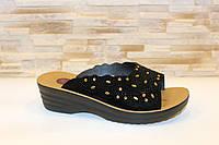 Шлепанцы женские черные замшевые Б551 40