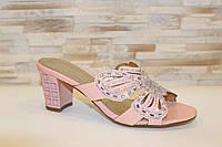 Шлепанцы женские розовые на каблуке Б247 38