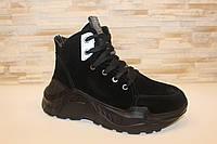 Ботинки женские зимние черные натуральная замша С817 38