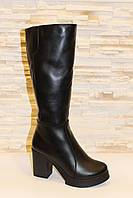 Сапоги женские зимние черные на каблуке натуральная кожа С616 40
