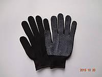 Перчатки черные нейлоновые с ПВХ точкой (упаковка 12 пар)