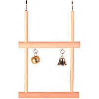 Качели с колокольчиками для попугаев Trixie деревянные двойные (5822)